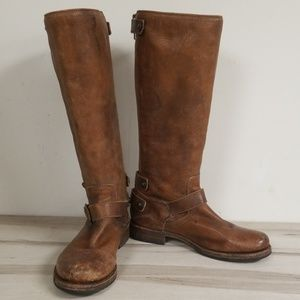 Frye Brown Leather Half Knee High Boots Size 8B